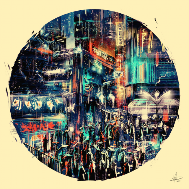 Ilustración ciudad futurista de Marie Bergeron