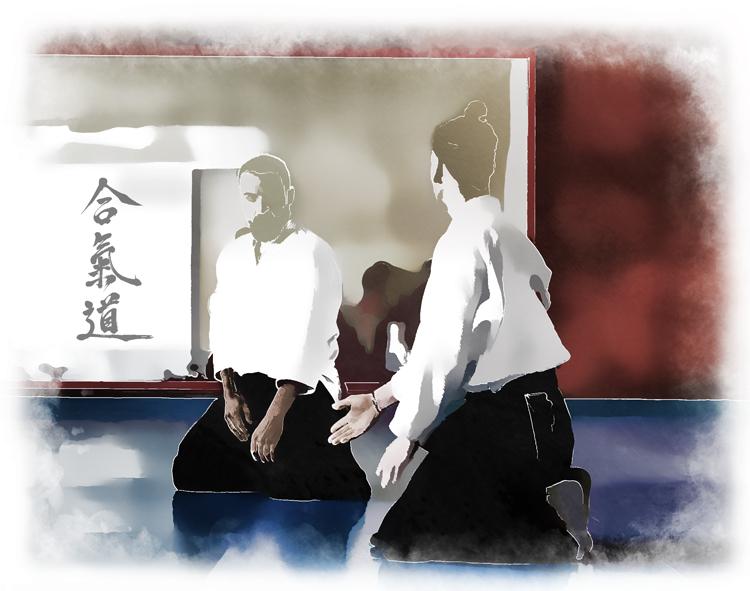 Imagen de dos aikidokas enfrentados