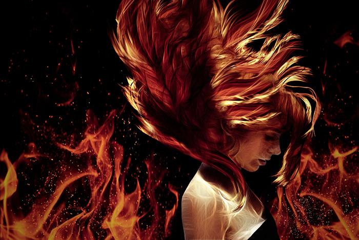 Imagen de una mujer con el pelo envuelto en llamas para ilustrar un relato sobre el cáncer.