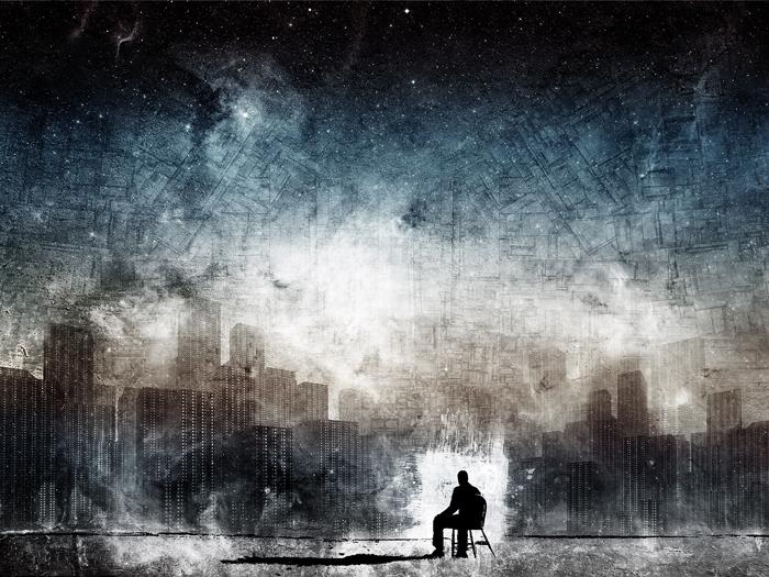 Hombre rodeado de edificios para Inercias y perdones
