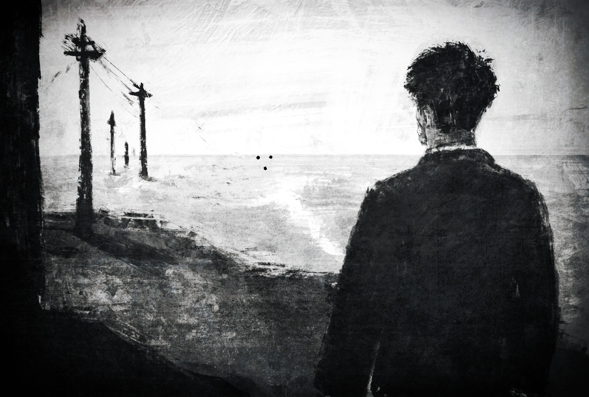 Hombre mirando al horizonte